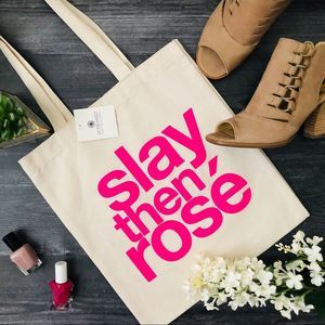 """Dogeared Slay Then Rose lil tote bag 12.5"""" x 14"""""""